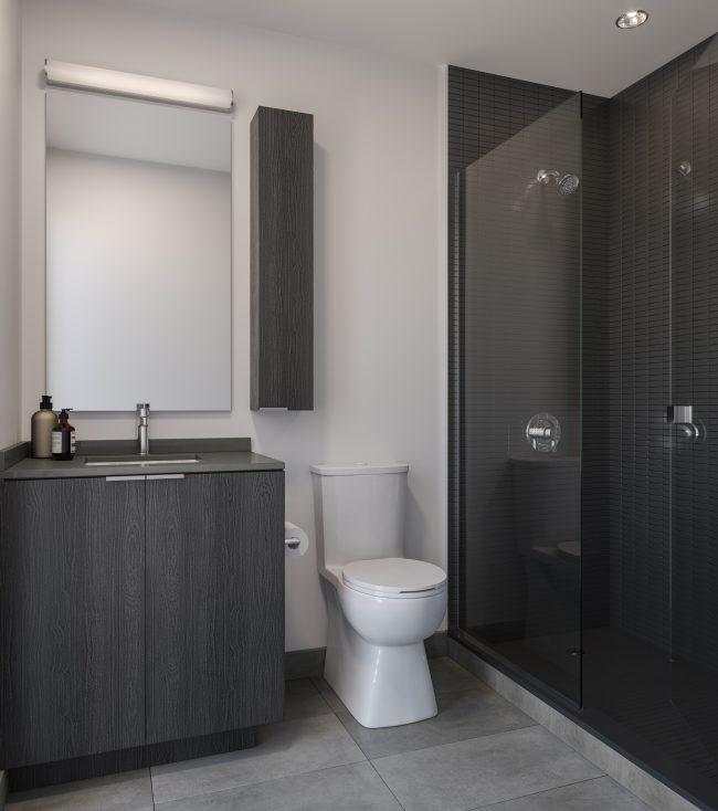 Dark Bathroom Rendering at Artform Condos