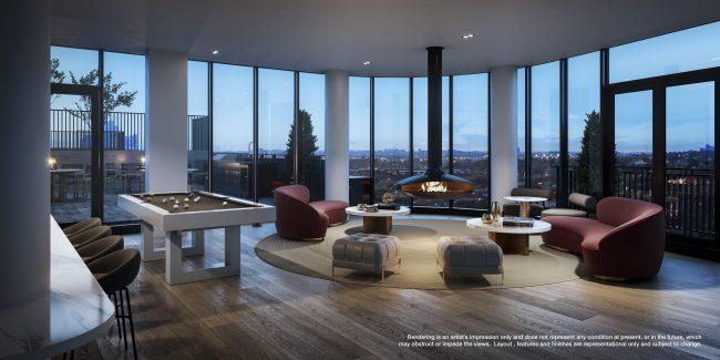 Social Lounge with pool table, and  sweeping views of Downtown Toronto