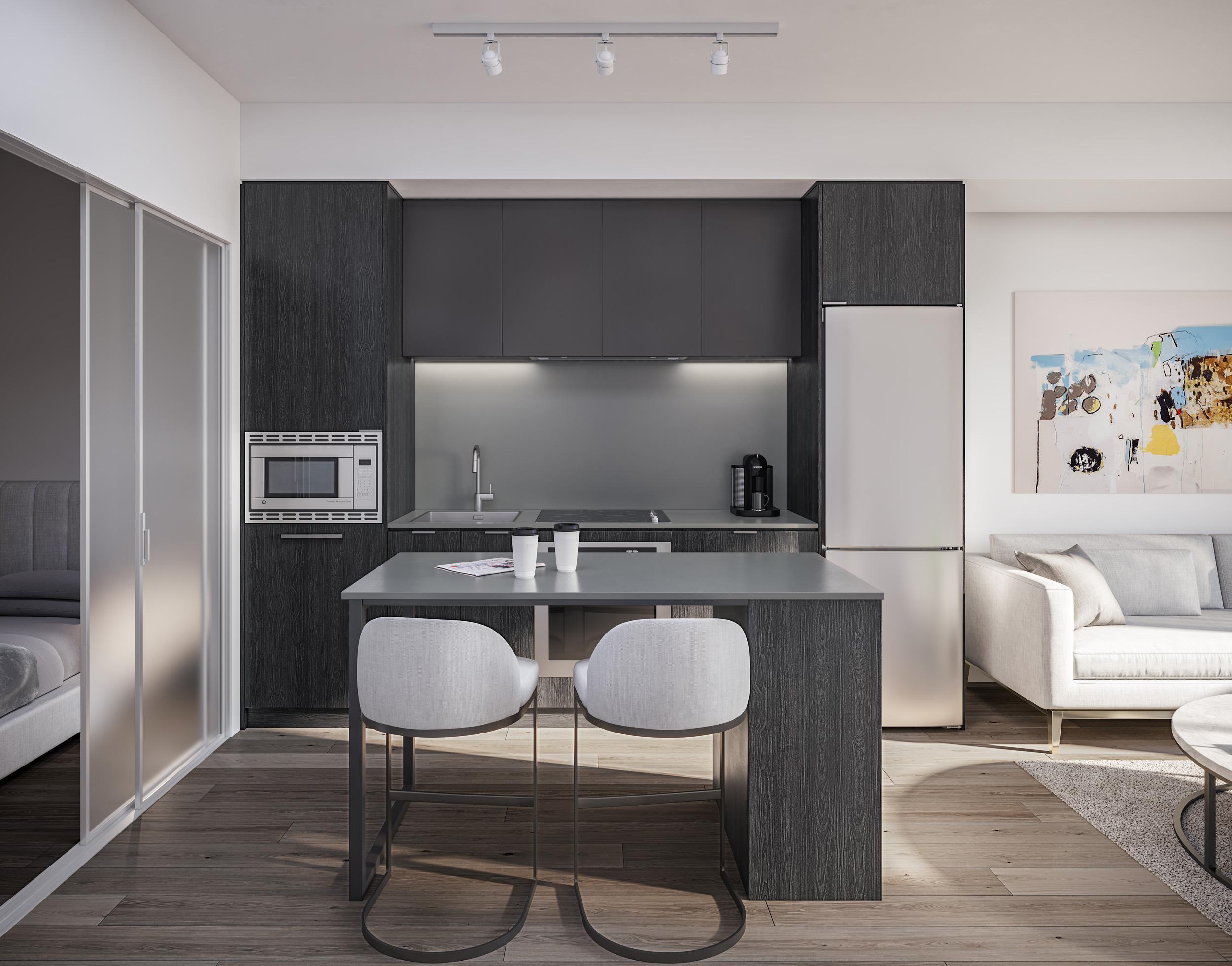 dark kitchen layout