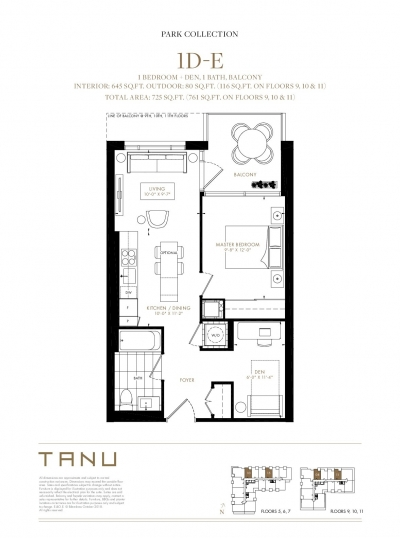 1 Bedroom + Den Floor Plan