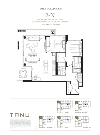 2 Bedroom + 2 Bathroom Floor Plan