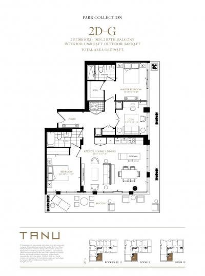 2 Bedroom + Den Corner Floor Plan