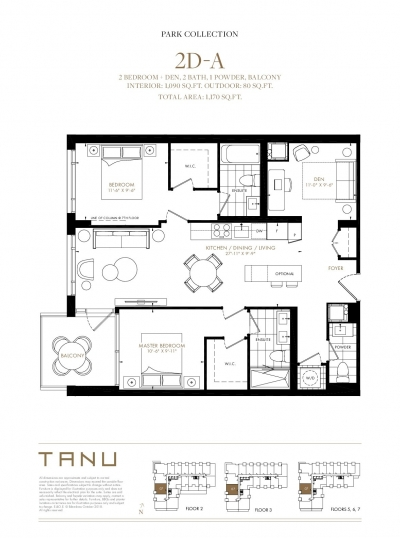 2 Bedroom + Den Floor Plan